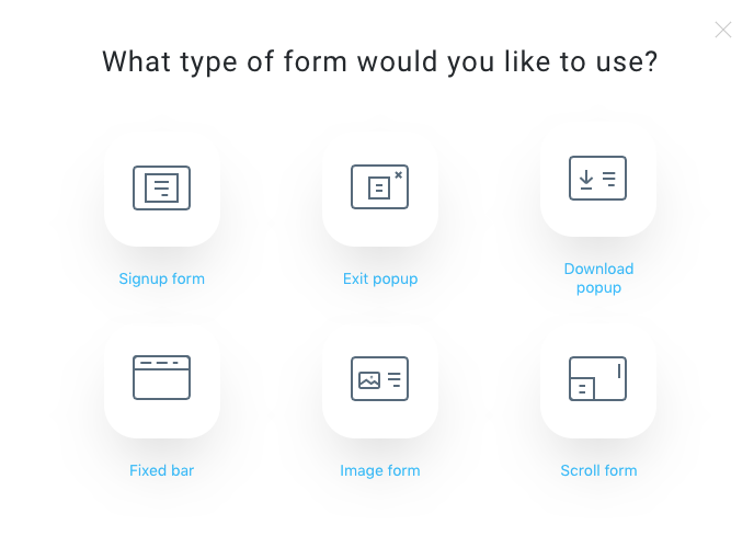 Modal showing available form types