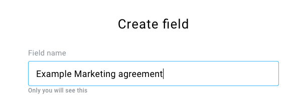 where to enter field name is shown