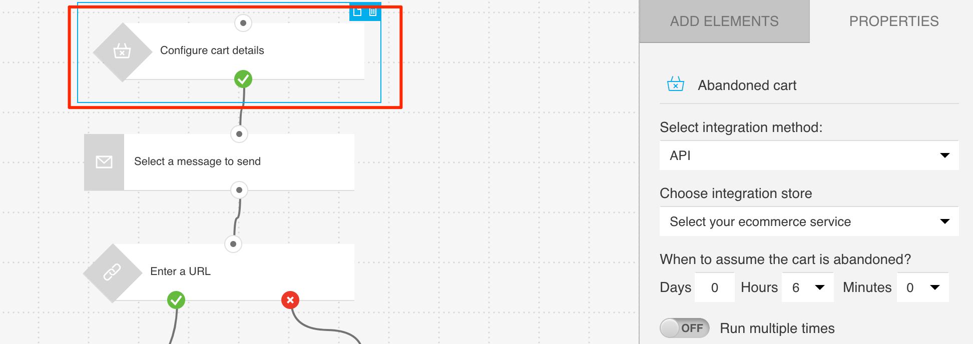 Configuration option for Abandoned cart using API integration