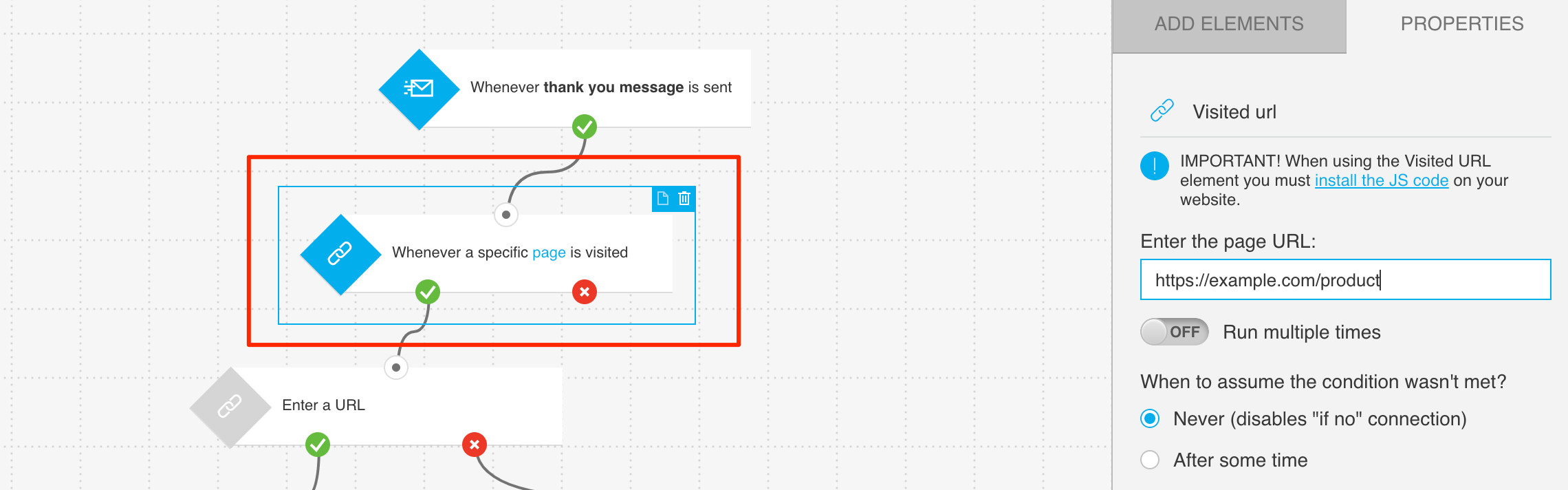 Example configuration of condition tracking visits to product page