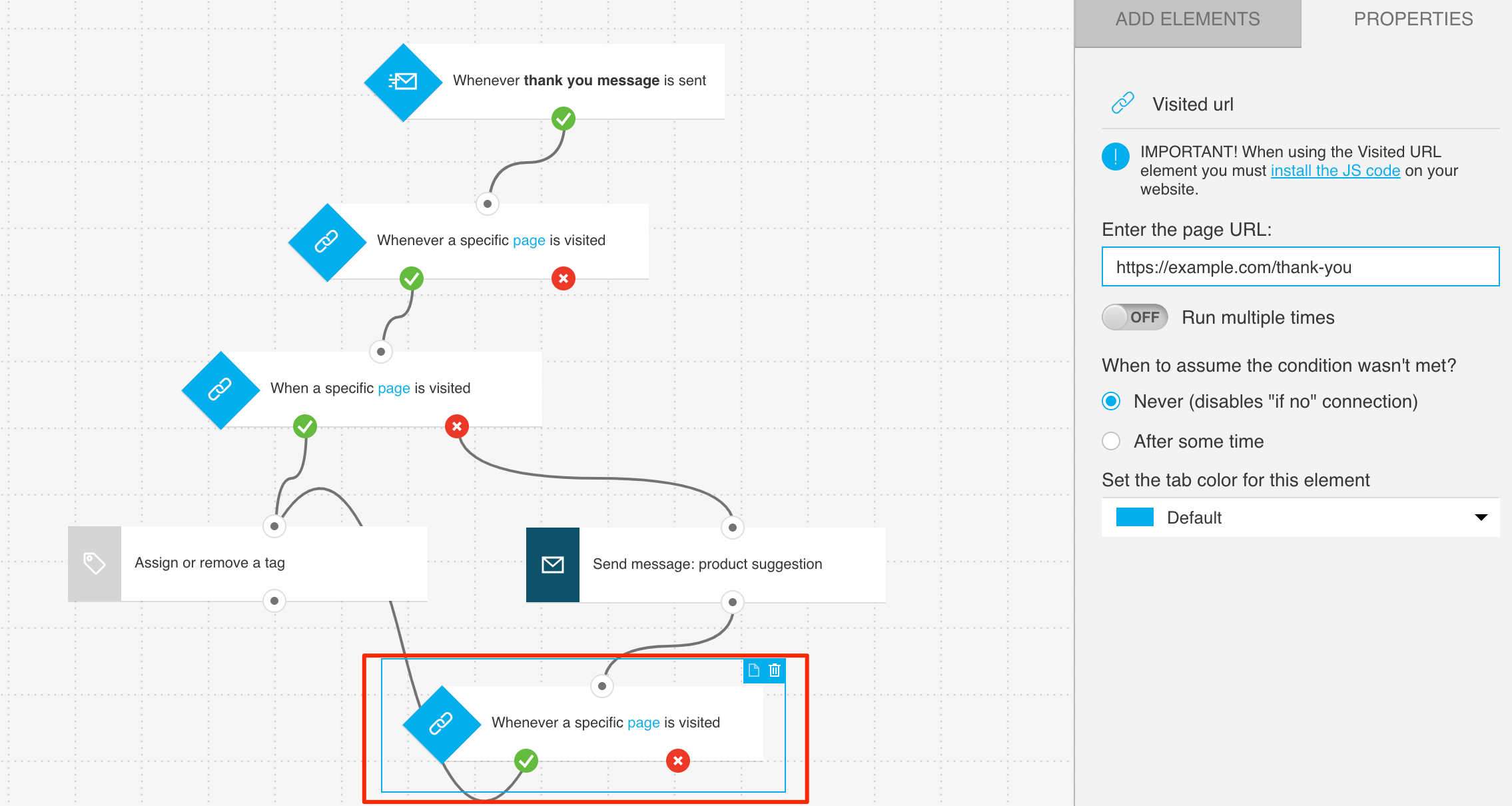 Example configuration of condition tracking conversion from thank you page