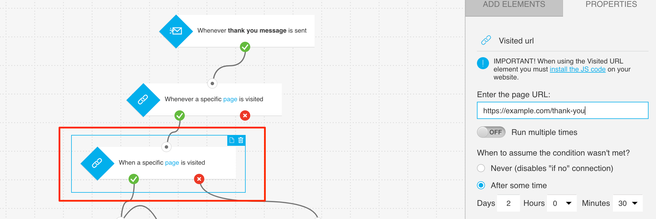 Example configuration of element tracking visits to thank you page