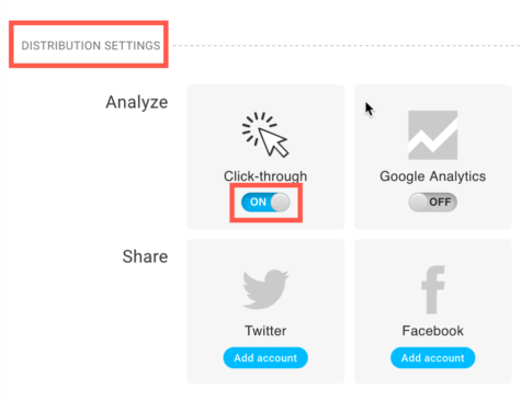 Distribution settings and link tracking in the UI.