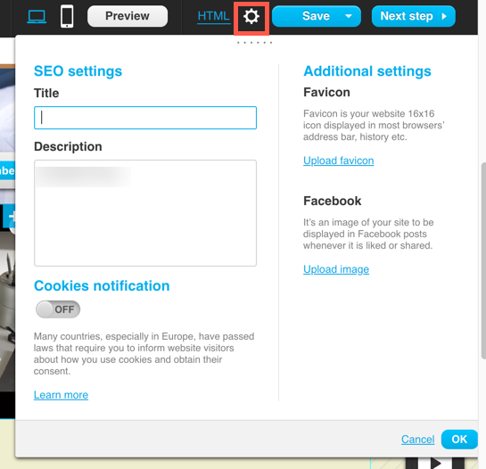 seo settings in the landing pages editor.