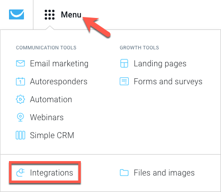 Profile icon and Integrations link indicated