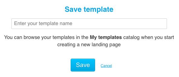 Save template window.