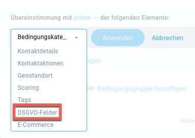 Auswahl Bedingungskategorie DSGVO-Felder.
