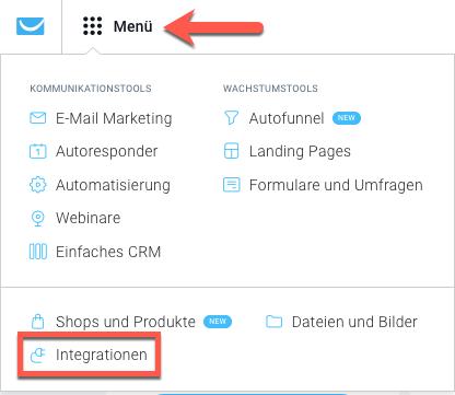Auswahl Menü und Integrationen.