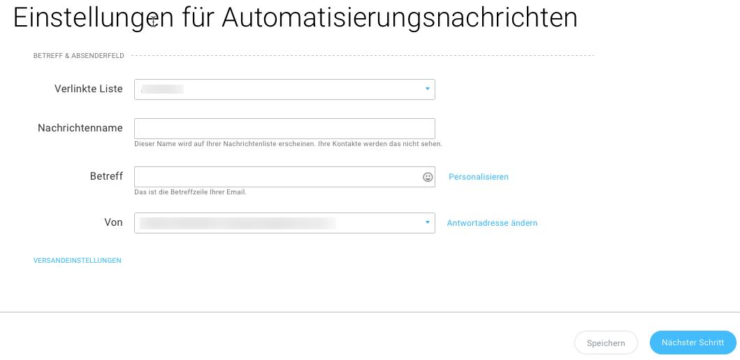 Einstellungsoptionen für Automatisierungsnachricht werden angezeigt.
