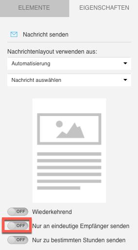 Schalter, der den Versand an eindeutige Empfänger aktiviert, wird angezeigt.