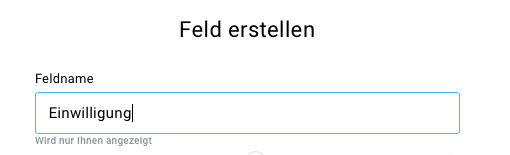 DSGVO Feld Feldname eintragen.