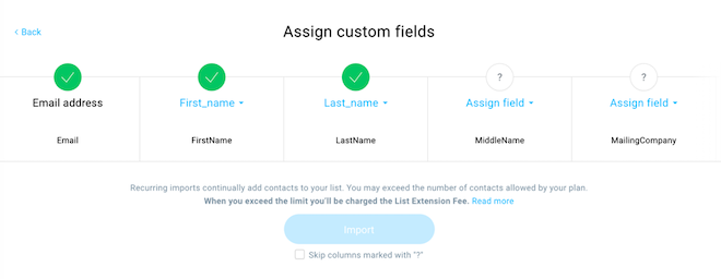 Assigning custom fields.