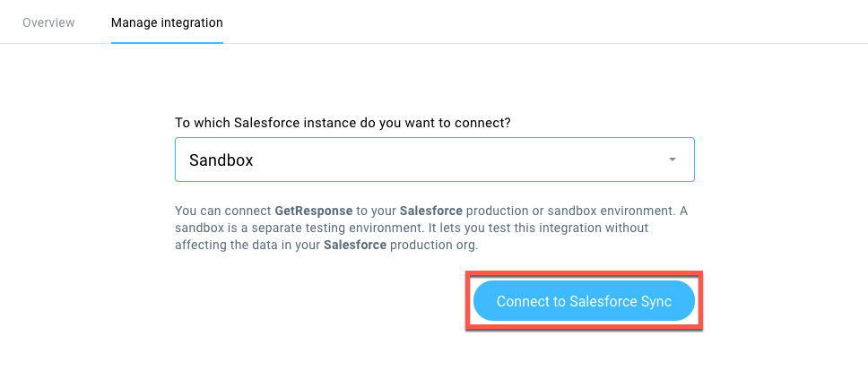 Connect to Salesforce Sync button