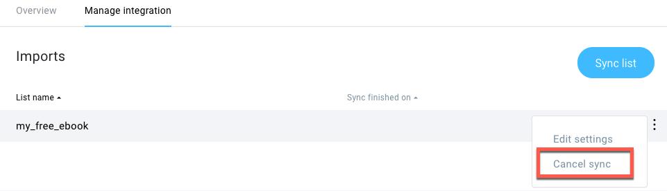 Canceling sync
