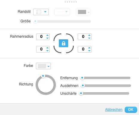 Landing Page Rahmen und Schatten Einstellungen.