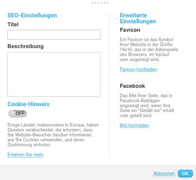Landing Page SEO-Einstellungen.