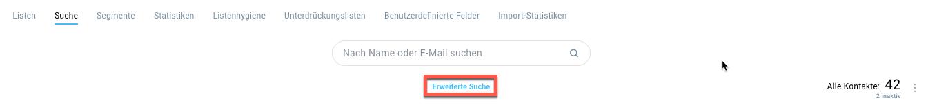 Auswahl erweiterte Suche in Kontaktlisten.
