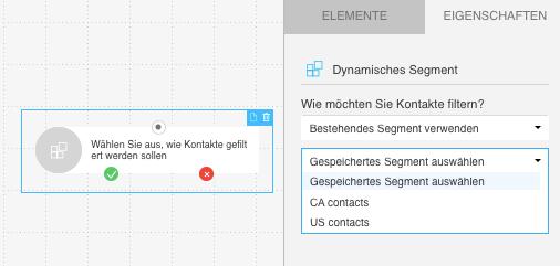 Dynamisches Segment Auswahl des gespeicherten Segments.