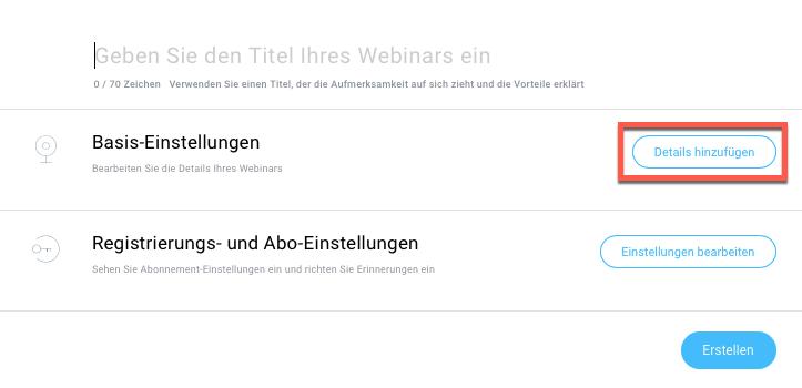 Einstellungen kostenloses Webinar.