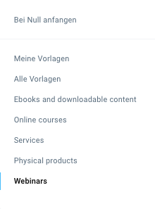 Auswahl Vorlage aus Webinars.