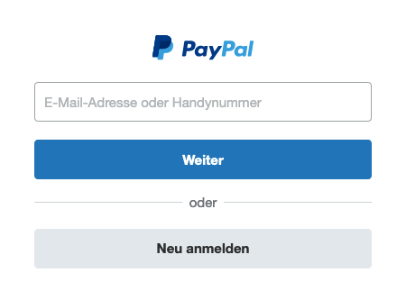 Anmeldung in PayPal.