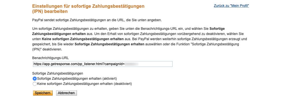 PayPal Benachrichtigung IPN einrichten.