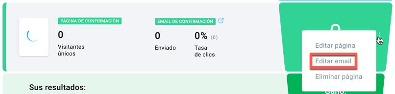 Editar email de confirmación.