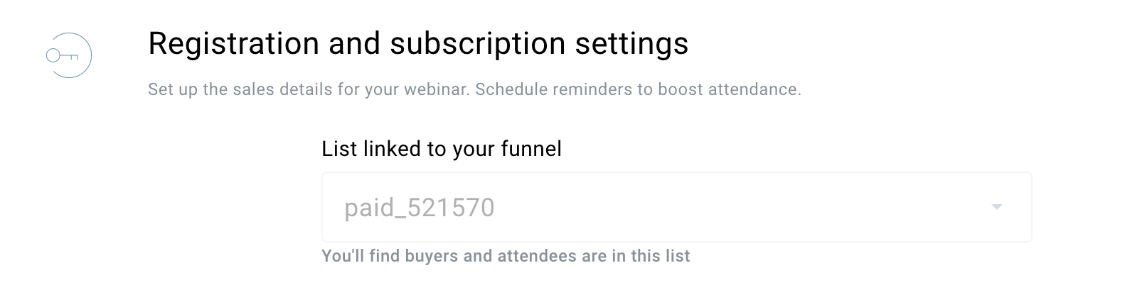 registration settings paid webinar funnel.