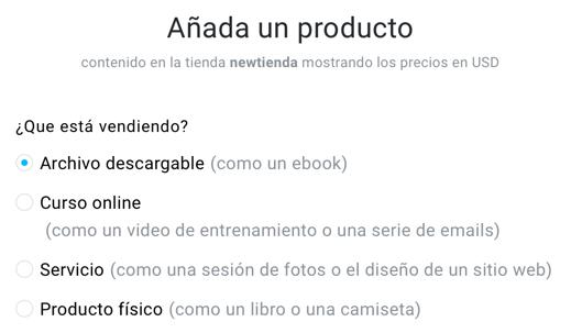 Tipos de producto.