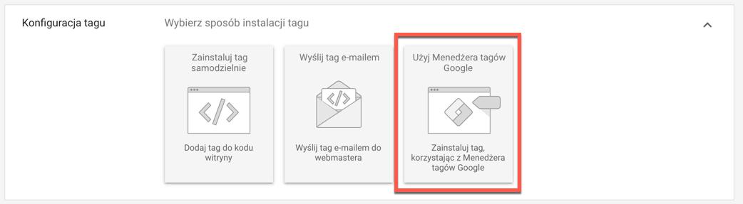 Użyj Menedżera Tagów Google.