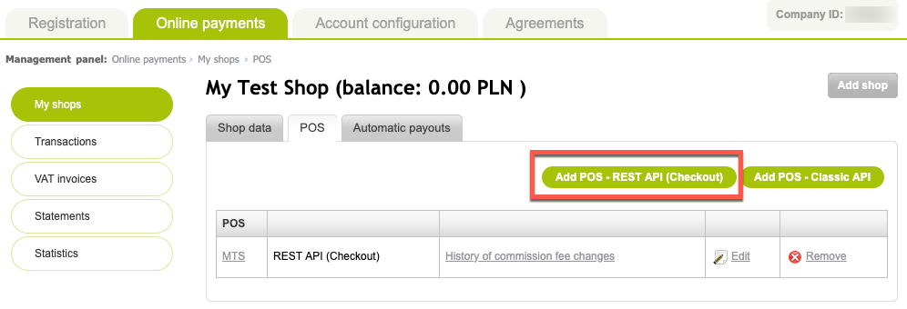 Location of Add POS - REST API (Checkout) button in PayU