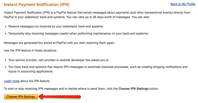 Choose IPN settings button.