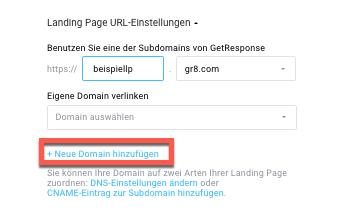 Auswahl Domain hinzufügen.