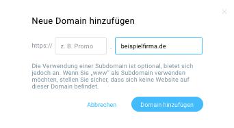 Eigene Domain eintragen.