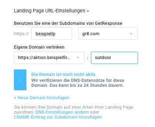 Warnung Domain ist noch nicht aktiv.