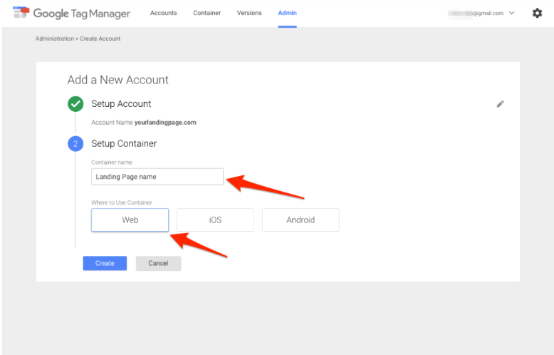 Google Tag Manager Container erstellen.