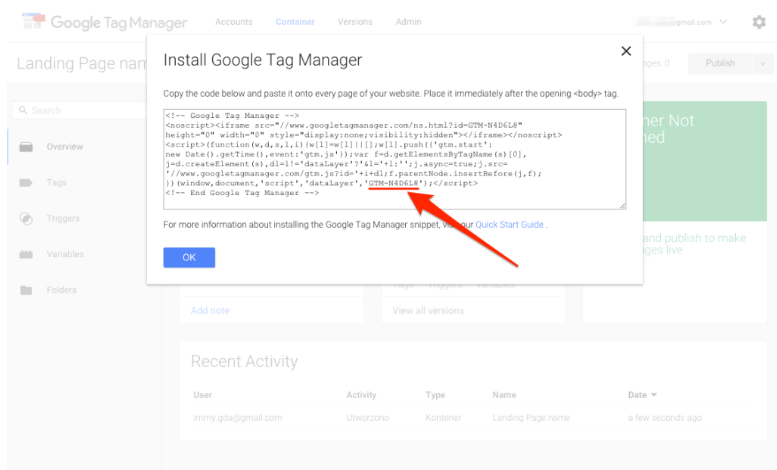 Google Tag Manager Code mit Container ID.