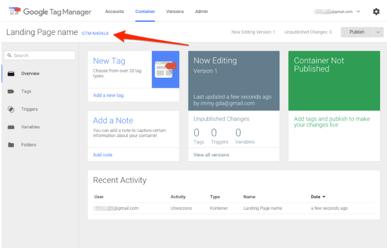 Google Tag Manager Container ID.