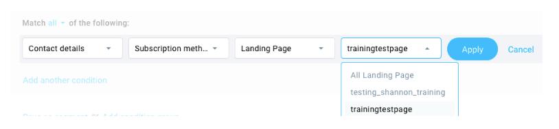 Bedingung Anmeldung via Landing Page.