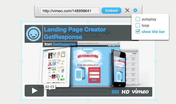 Landing Page Vimeo Video einfügen.