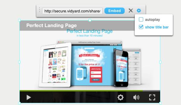 Landing Page Vidyard Video einfügen.