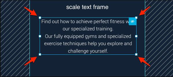 Textelement skalieren.