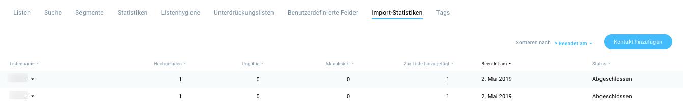 Übersicht abgeschlossener Importe.