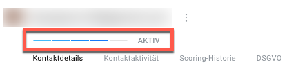 Kontaktdetails mit Aktivitätsindex.