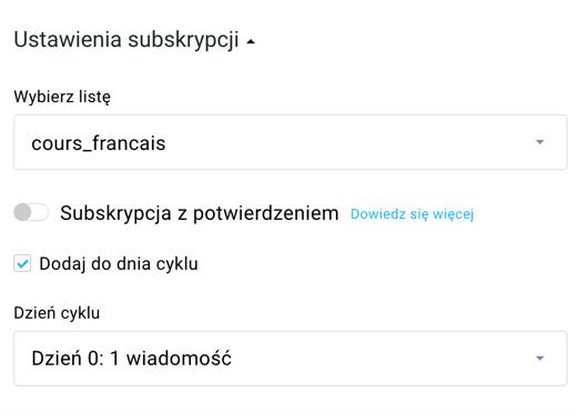 ustawienia autorespondera.