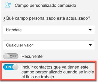 Incluir contactos que ya tienen este campo personalizado.