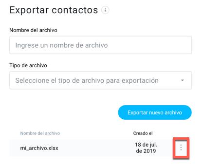Menú acciones para descargar archivo.