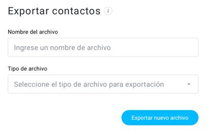 Página Exportar contactos.