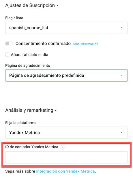 Pegar el ID de contador Yandex Metrica.