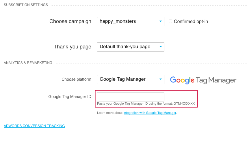 Google tag manager settings.